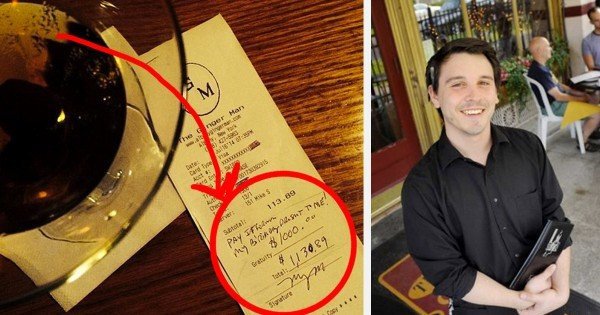 This Waiter Got The Surprise of A Lifetime from a Complete Stranger. And It Wasn't HIS Birthday!