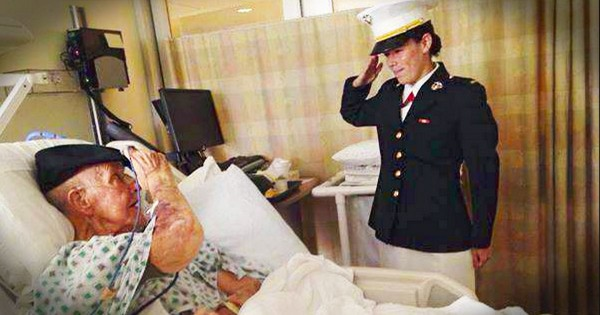 This New Marine Gave Her Grandpa A Huge Surprise. And Her First Salute!