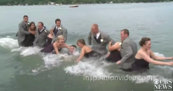 wedding party falls on dock
