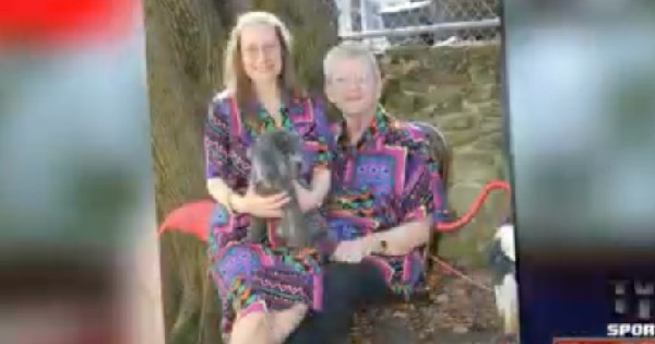 couple posing for picture in matching outfits