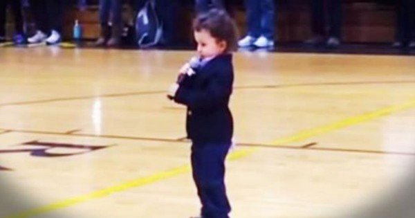 2-Year-Old Sings National Anthem At Local Basketball Game