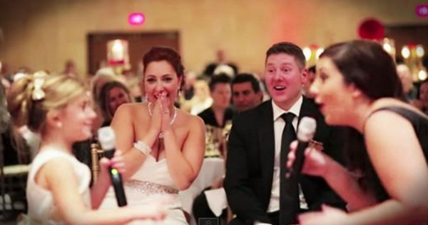 Flower Girl Sings 'Love Is An Open Door' At Wedding Reception