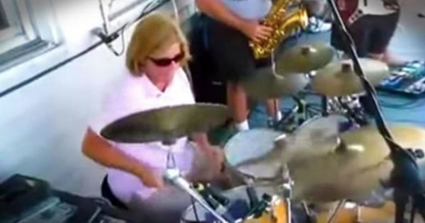 Mom Rocks Out On Stage On The Drums