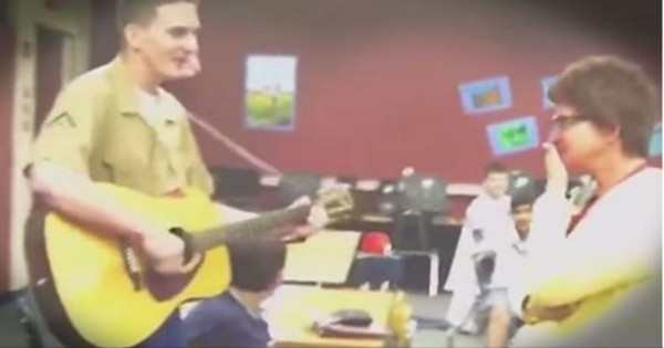 Marine Surprises His Mom When He Comes To Her Work To Sing For Her