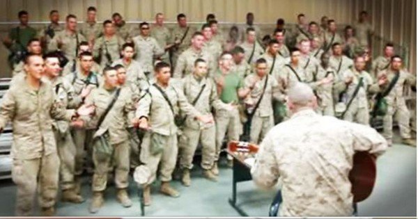 Marines Worship By Singing 'Lord I Lift Your Name On High'