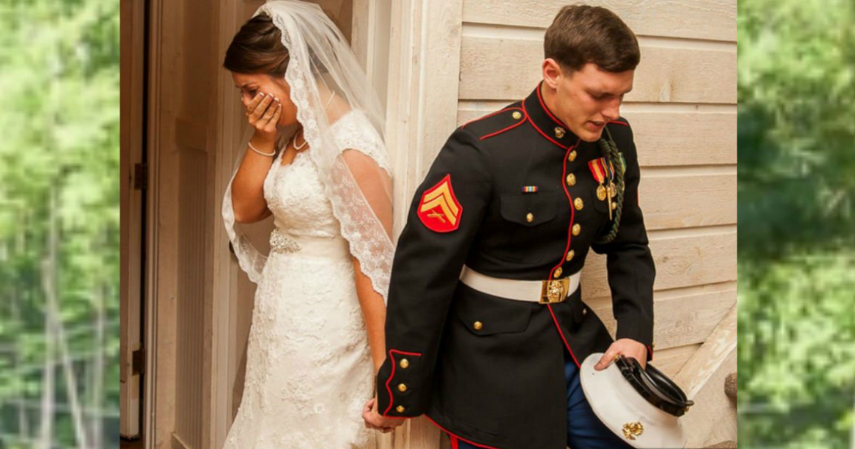 marine praying with bride viral photo
