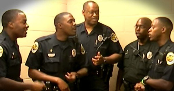 Police Officers Sing A Cappella To Praise Jesus
