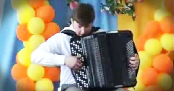 Teenager Rocking Out On An Accordion