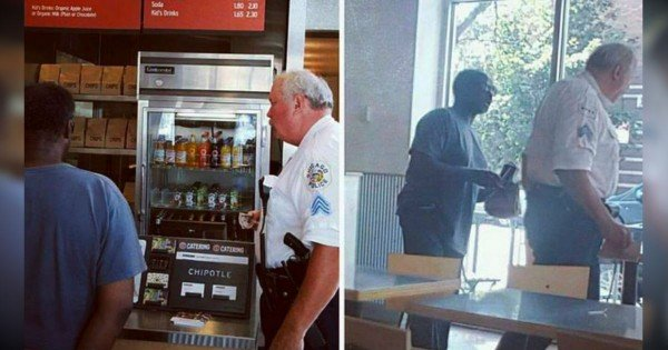Police Officer Buys Lunch For A Homeless Man