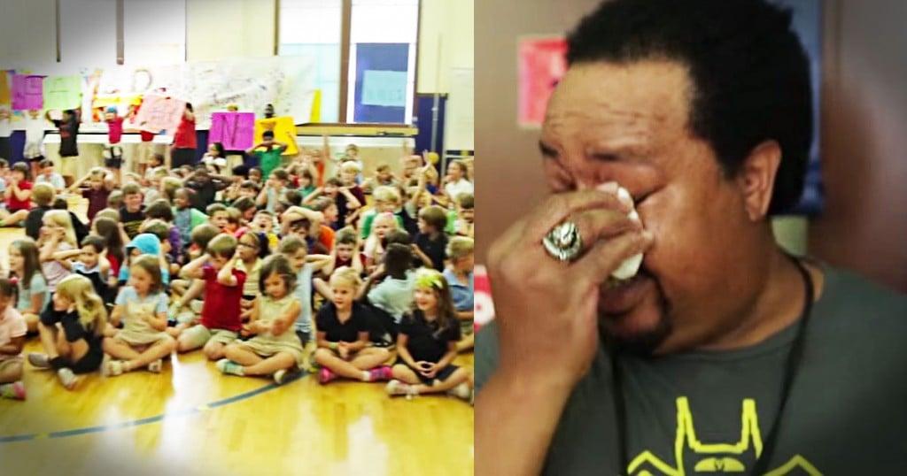 jd-godvine-custodian gets big thank you from elementary kids-FB