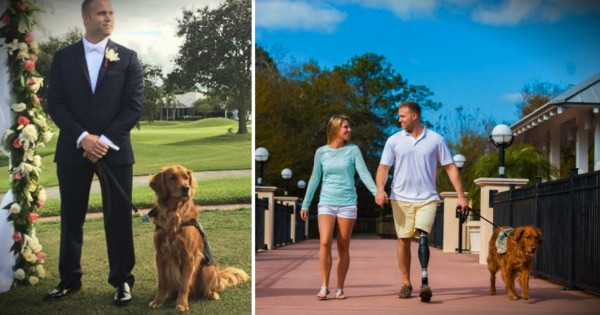 A Wounded Warrior Groom Has A Special Best Man: His Service Dog