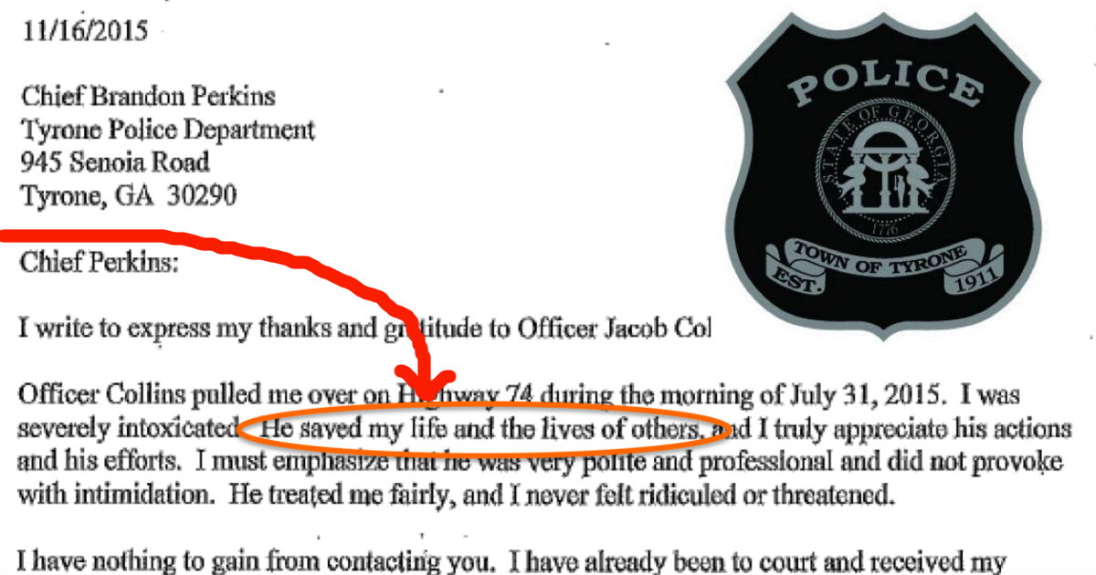 drunk driver thanks the officer who arrested him
