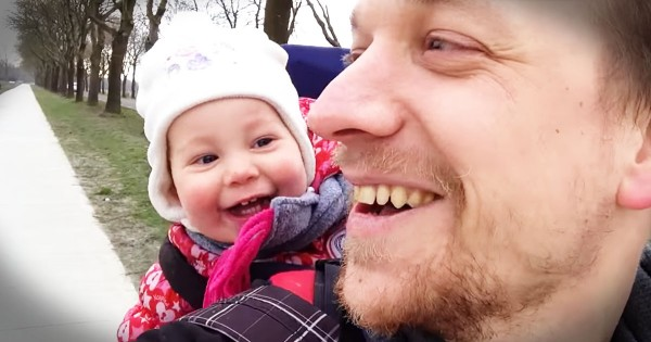 Baby Laughing Hysterically At Her Dad