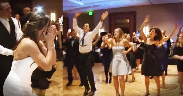 Wedding Party And Friends Surprise Bride And Groom With Flash Mob
