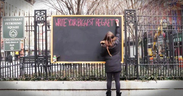 People Share Their Biggest Regret On Public Chalkboard