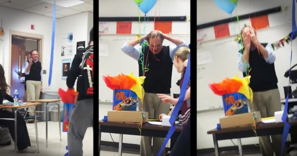 Teacher Gets A Surprise Cake For His Birthday From Class