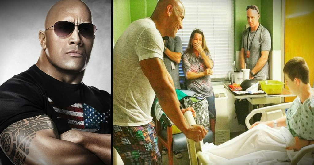 godupdates the rock makes surprise visit to children's hospital fb