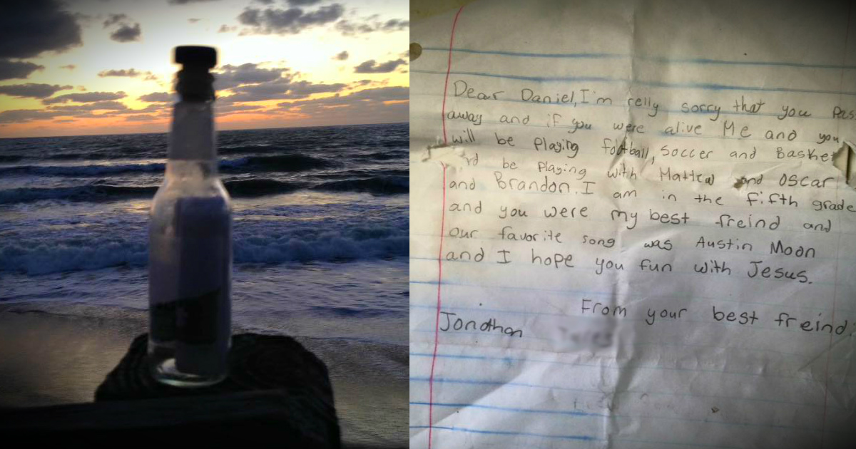 Boy's Message In A Bottle To His Late Friend Found By Man