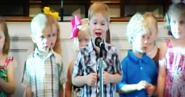 Little Boy Sings Country Music During Bible Song