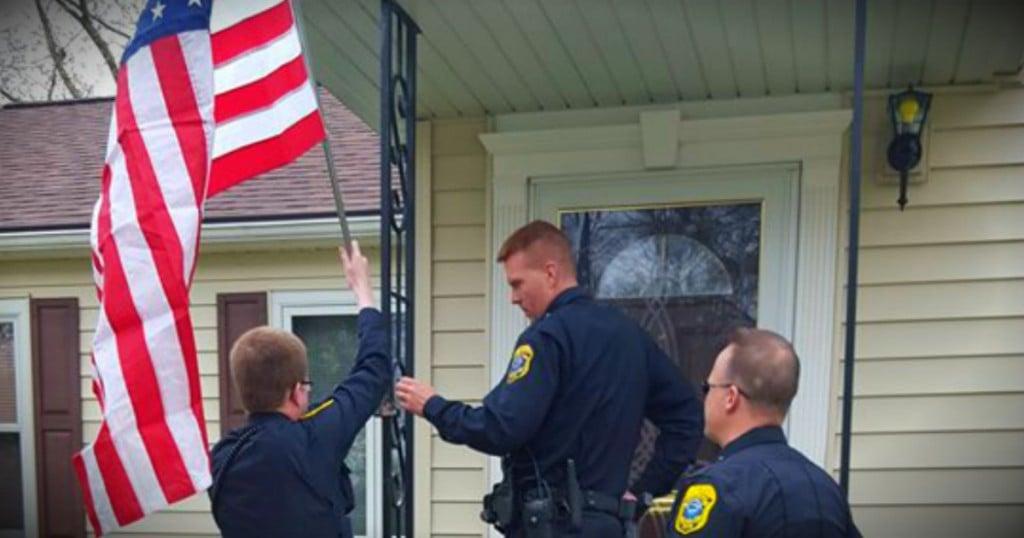 godupdates officers replace stolen flag of ww2 veteran's widow fb