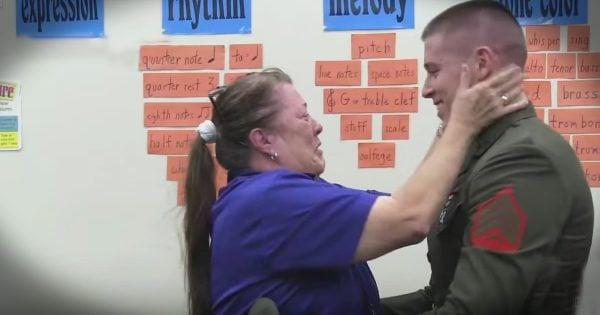 Marine Surprises Third Grade Teacher Mom at School
