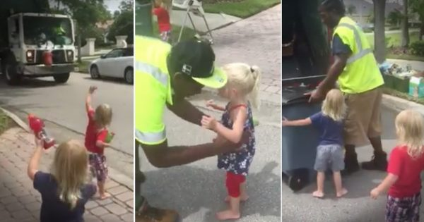 Toddler Triplets Are Best Friends with Garbage Men