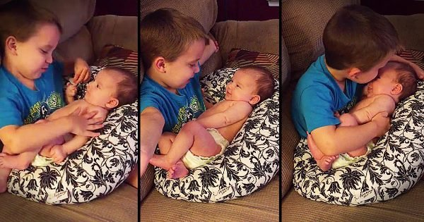 Big Brother Sings 'You Are My Sunshine' to Baby Sister
