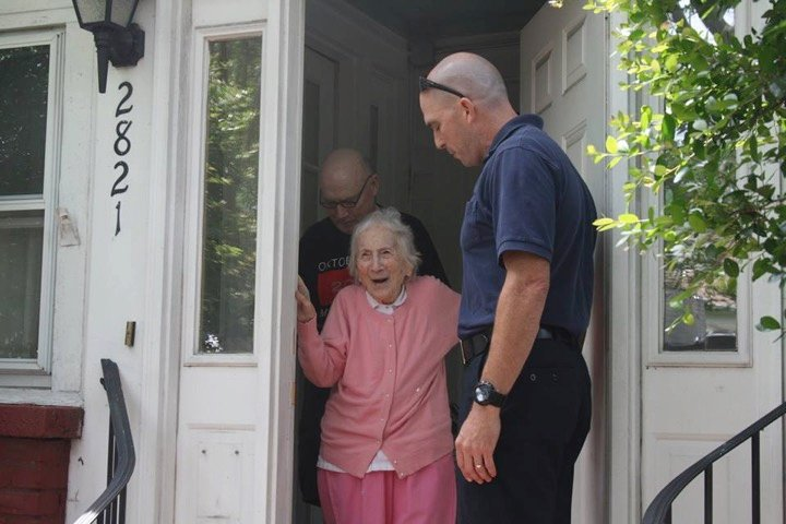 godupdates department surprises firefighter's widow on her 100th birthday 1