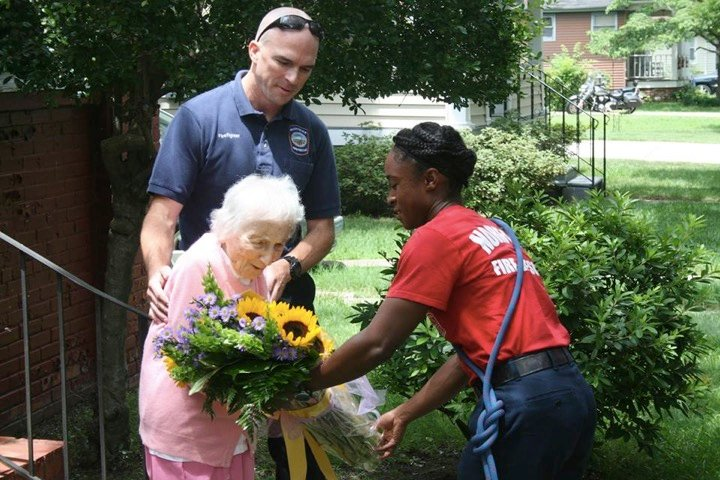 godupdates department surprises firefighter's widow on her 100th birthday 3