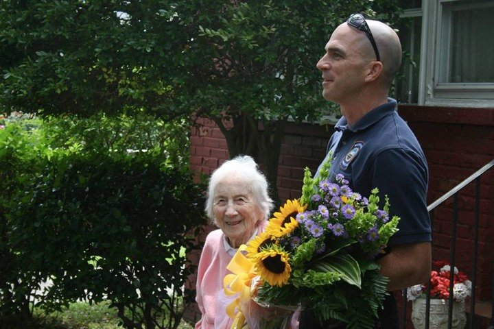 godupdates department surprises firefighter's widow on her 100th birthday 4