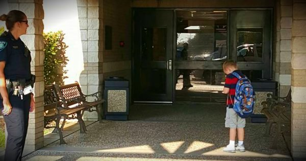 Tardy 5-Year-Old Stops To Say The Pledge Of Allegiance And A Prayer