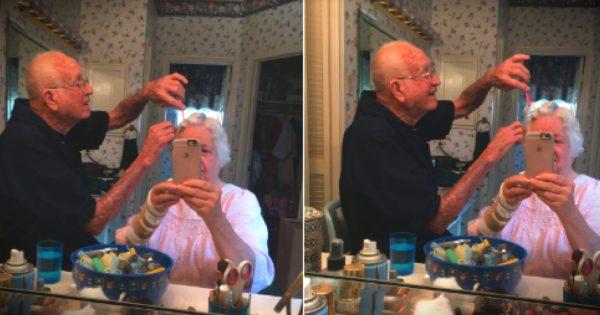 Photo Of Grandpa Doing Grandma's Hair Shows True Love In Real Life