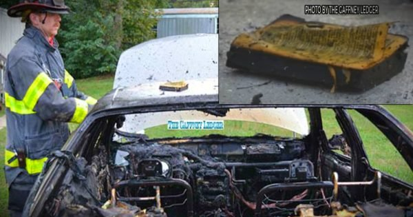 Intense Fire Completely Burns Car Except For The Bible Inside