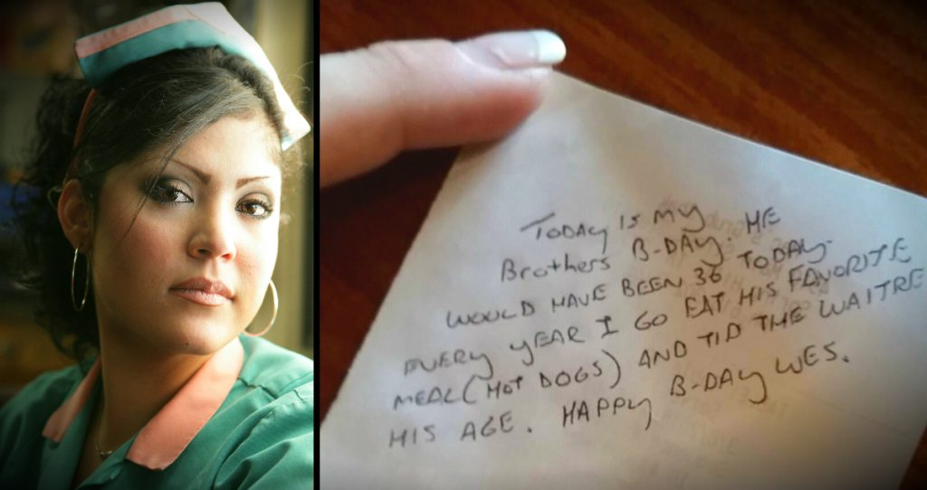 godupdates grieving customer leaves waitress tip and note honoring late brother's birthday fb