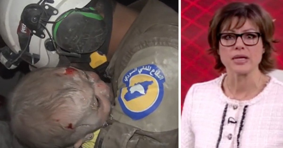 rescue volunteer cries when miracle baby is found after russian bombing in syria