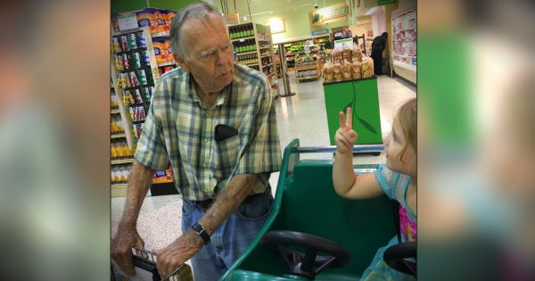 Mom Cringes As Little Girl Yells 'Hey Old Person' To Widower At Grocery Store But Then He Smiles