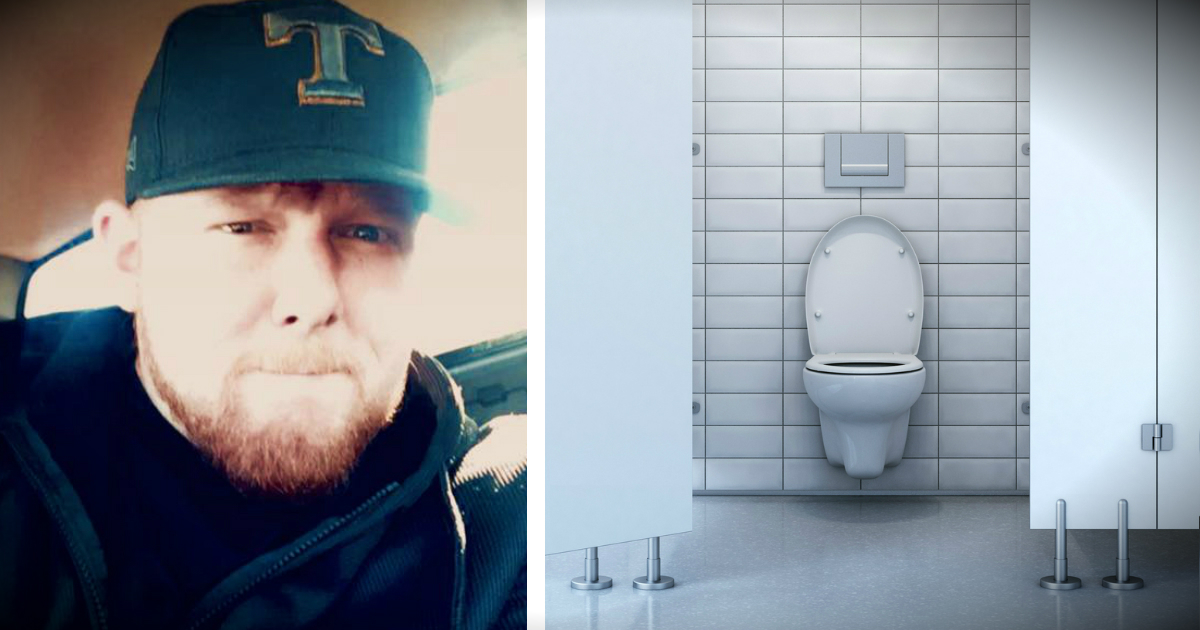 elderly veteran stuck in a bathroom stall