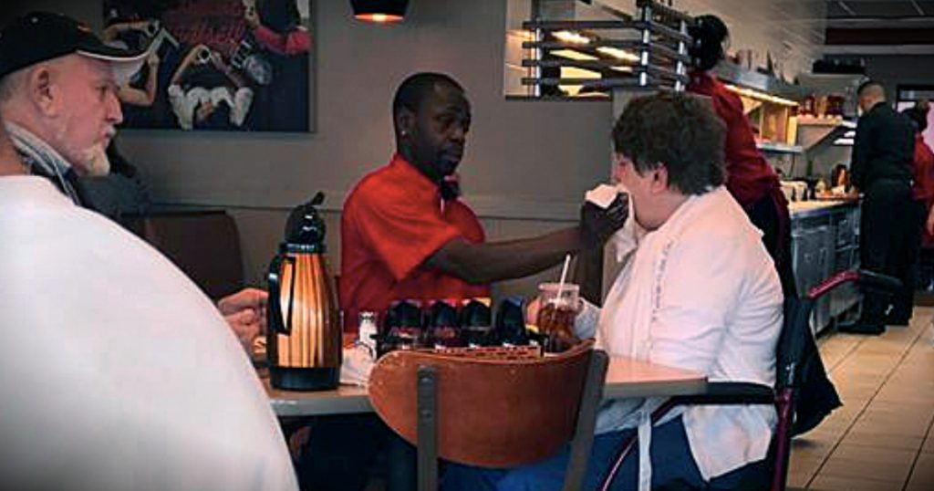 godupdates IHOP waiter feeds customer with Hungtington's Disease fb