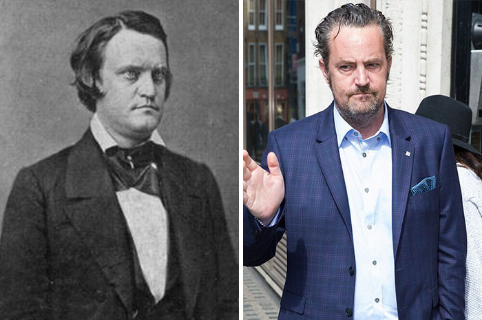 14 Photos of People Who Look Exactly Like Famous Celebrities _ Matthew Perry _ Breckinridge _ god updates