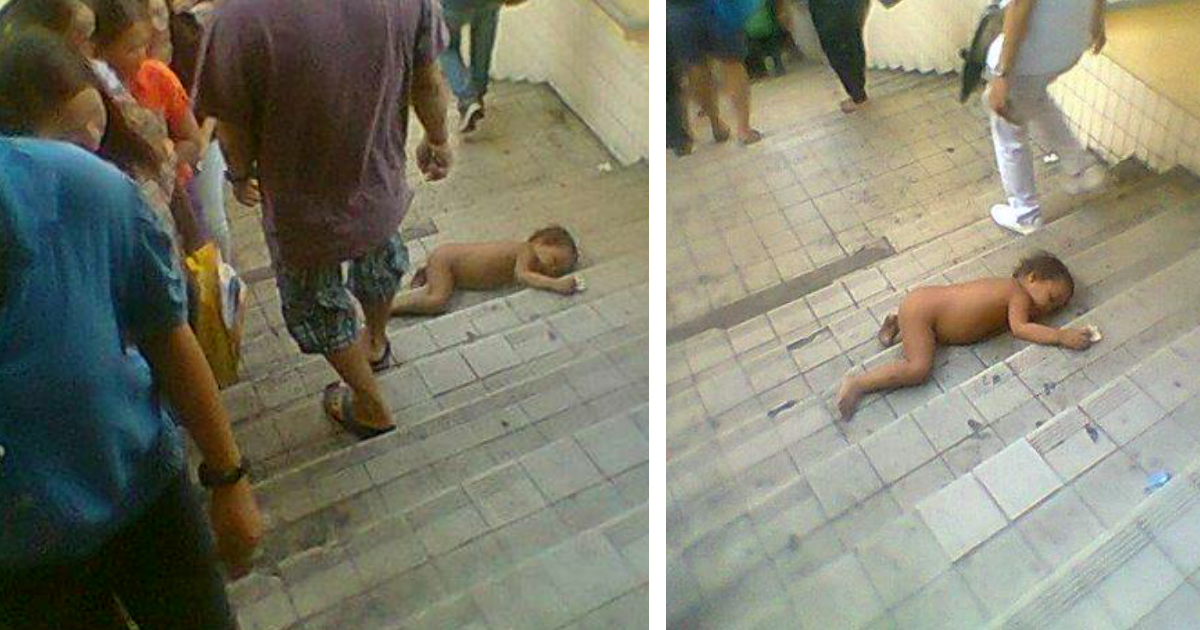 godupdates naked baby sleeping on busy stairway in philippines_FB