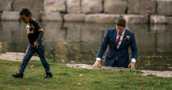 Groom Breaks Away From Wedding Shoot To Save Drowning Boy