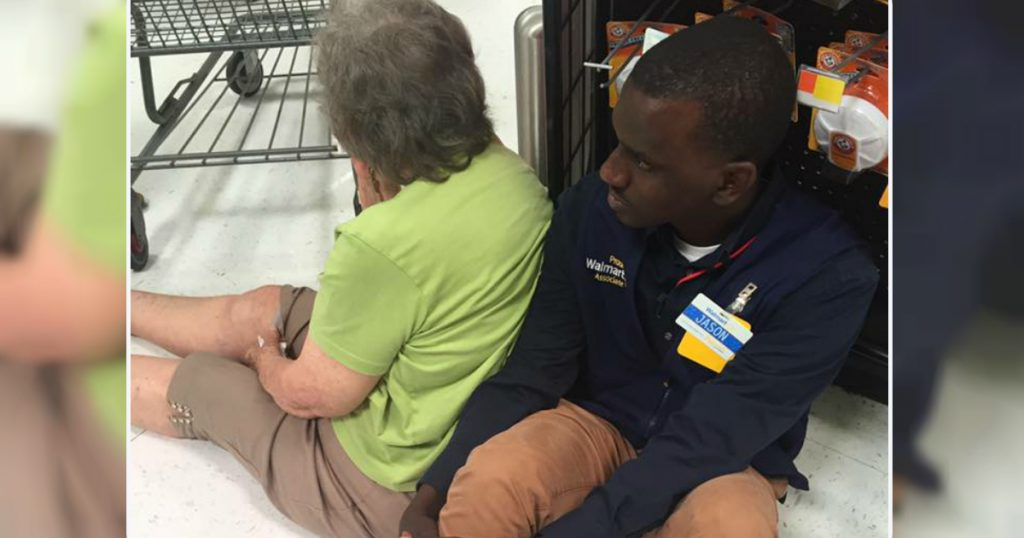 godupdates woman faints and walmart employee supported her like human chair fb
