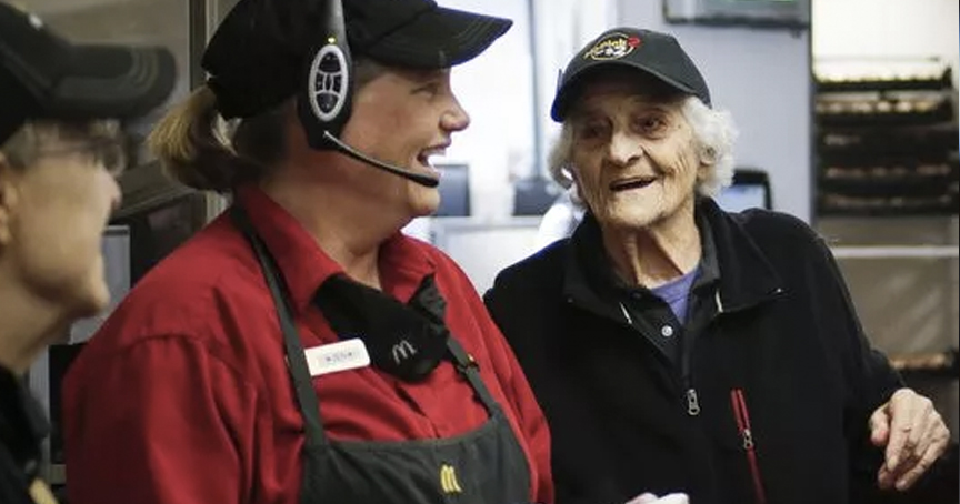 92-Year-Old McDonald's Cook Credits Long Life to Morning Routine in Mirror _ god updates