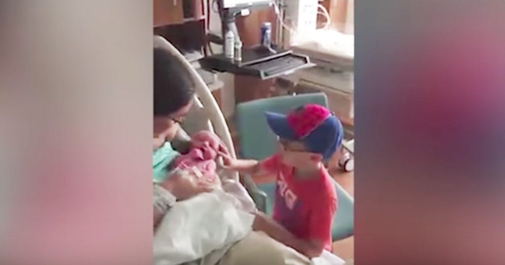 boy with autism meets baby brother