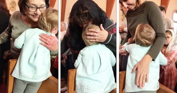 Little Girl Adorably Gives Everyone At Church A Hug
