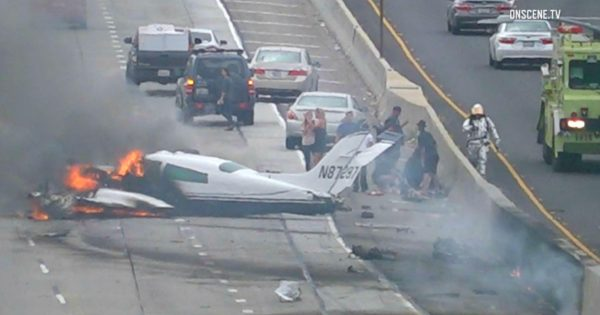 Plane Crashed On Freeway, Then Burst Into Flames With Pilot Trapped Inside