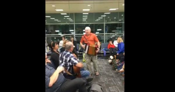 Passengers Waiting On Their Flight Have A Blast With An Accordion Get Down