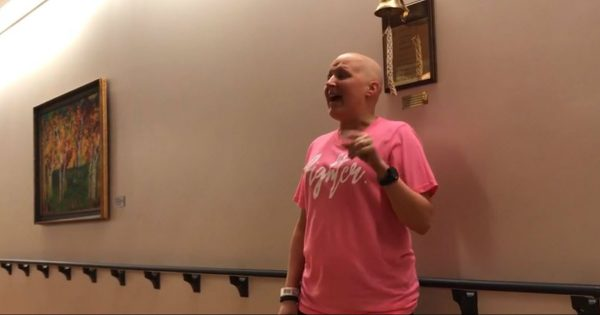 Woman Sings 'Amazing Grace' To Celebrate Beating Cancer