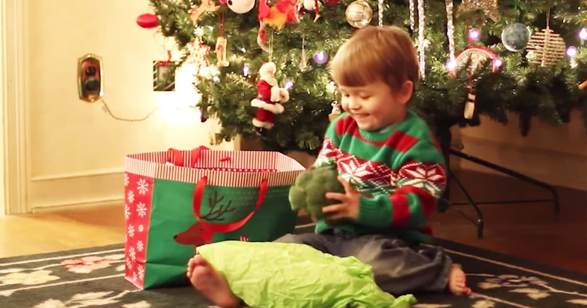 Boys Christmas Present.Boy Is Excited To Receive Christmas Present Full Of Vegetables