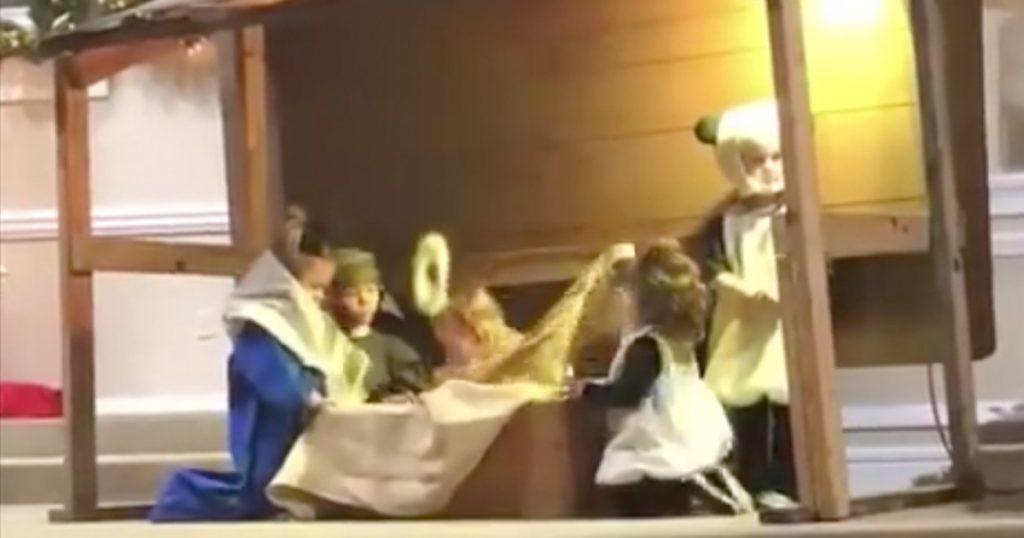 Sheep Takes Baby Jesus During Children's Nativity